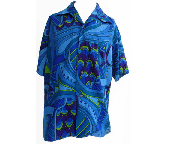 BJs Fashions loha Hawaiian Abstract print short sleeves SZ L Button Front Purple blues Honolulu Hawaii