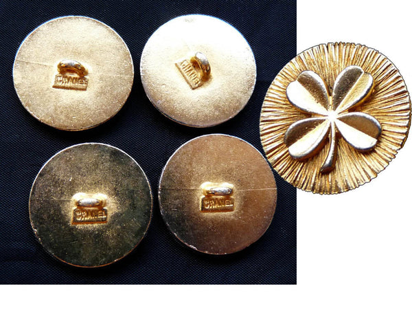 Chanel Buttons Vintage 80s Replacement Rare Clover Cloverleaf 4  24mm gold tone metal shank Blazer