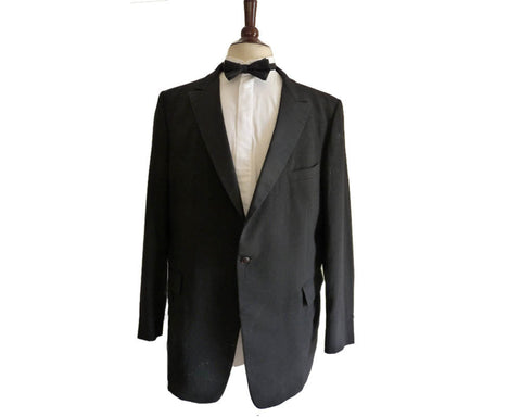 Vintage Tuxedo After Six 46 L Peak Lapels Jacket Coat Black Dinner Formal One button Rear vent