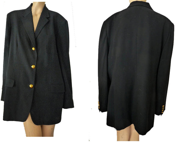 Ralph Lauren black blazer Vintage 80s X Lg Gold Lion buttons wool SB No Patch USA