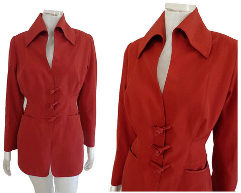 Claude Montana Jacket Sz 4 High Stand up Collar Avant Garde 80s 90s Blazer Wool Cotton Red