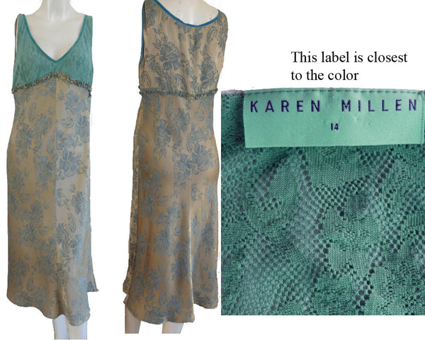 Karen Millen set Dress with Jacket Set Sz 14 Sleeveless Empire Lace Bodice