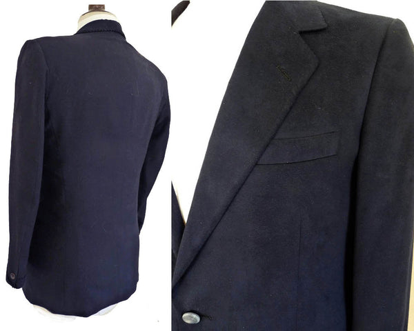 Lanvin Blazer Blazer Midnight blue Dark 2 button Feather suede Jacket Sz39 Navy Paris
