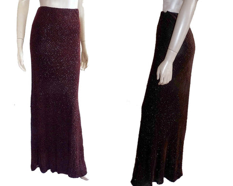 Evening Beaded Skirt Long Carmen Marc Valvo Size 6 Exquisite Aubergine Sparkle