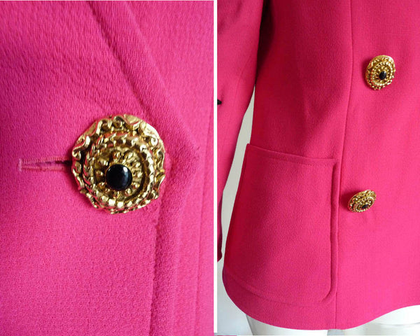 Christian Lacroix jacket Sz 8 9 Vintage 1980s Hot Pink Fuschia DB Black applique Gold buttons Paris