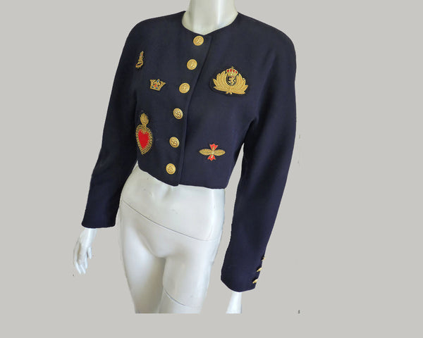 mondi cropped black jacket patches Steampunk