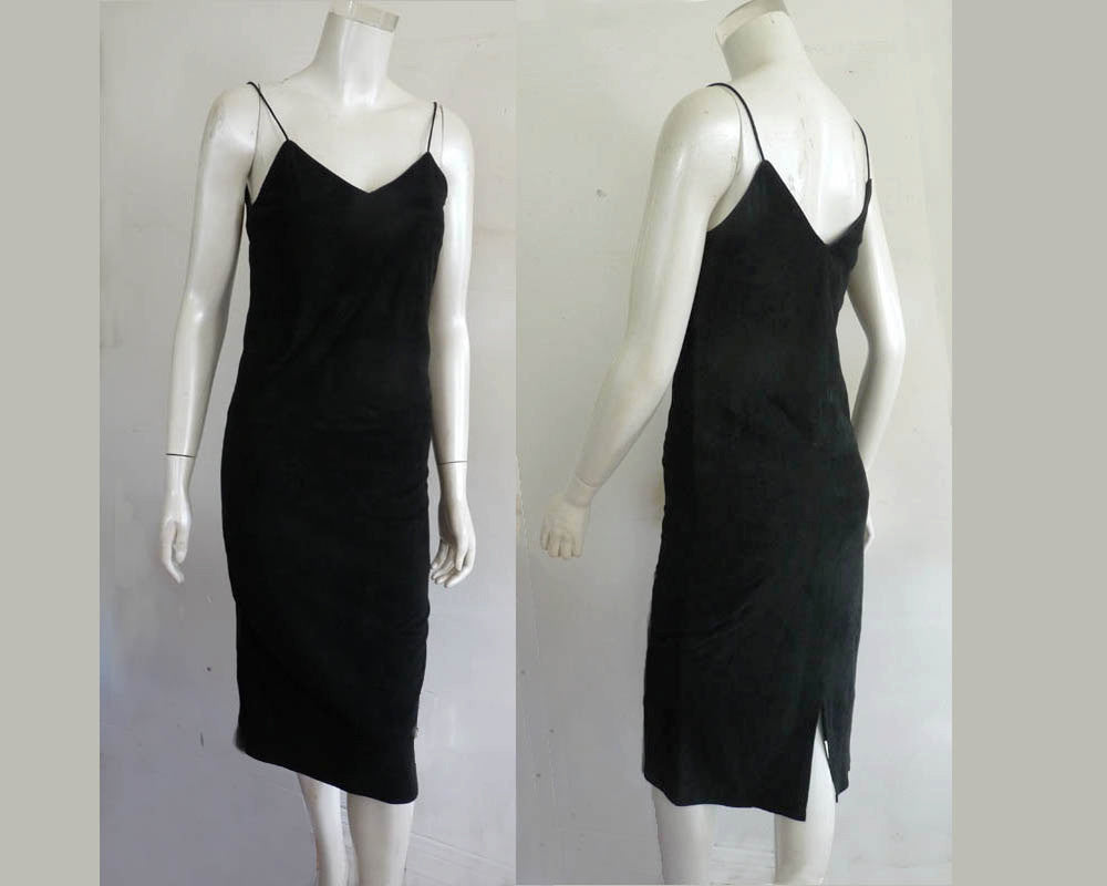 Ambria Leather dress Spaghetti straps Lamb Black P Small light weight Unlined Pencil