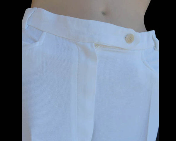 GIORGIO ARMANI Sz 6 Wide straight legs High rise pants Capri S Cruise White Italy