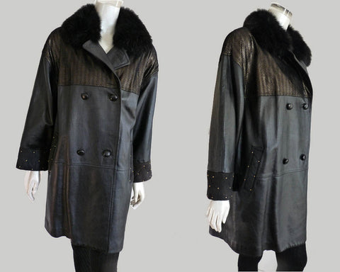 diane freis leather jacket coat fur collar