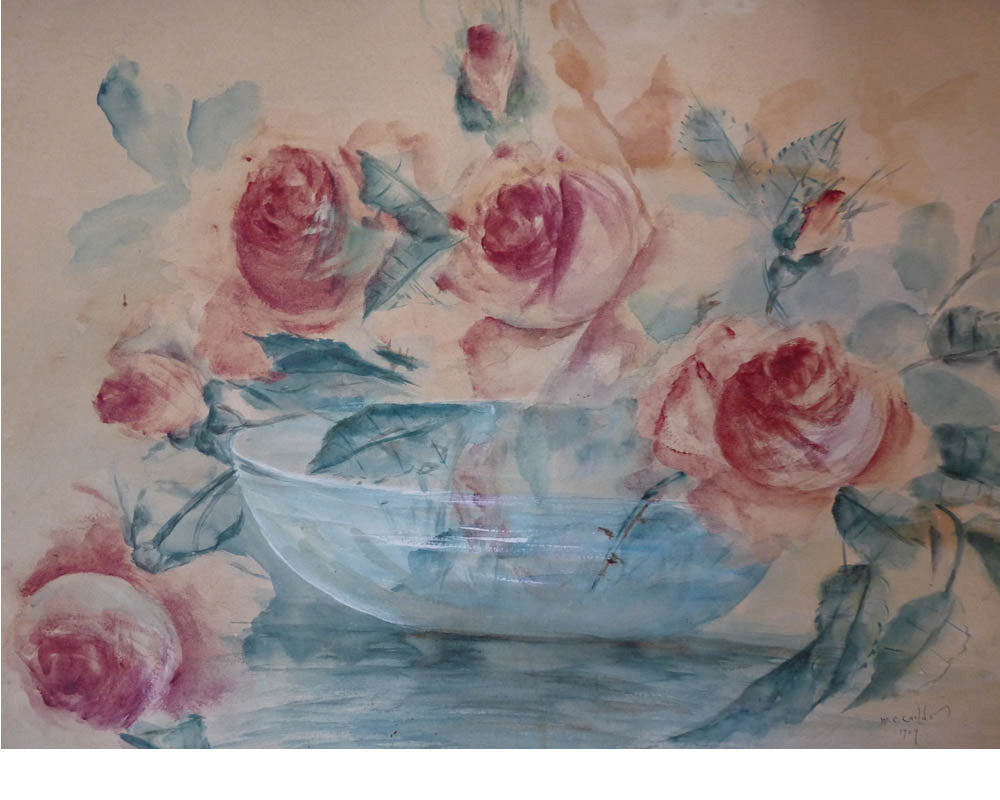 Antique Original Floral  painted watercolor M.C. Childs 1909 H Signed Lillie Foss back label