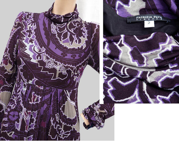 Patrizia Pepe Dress Abstract Purple print Mock High neck Long sleeve Knee length