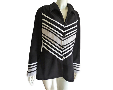 Black white Leather Chevron jacket Tadashi Gray Buttons Snap front jacket Sz 14  pattern long sleeves Bell