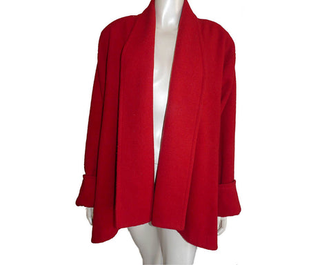 vintage red wool jacket Valentina swing jacket