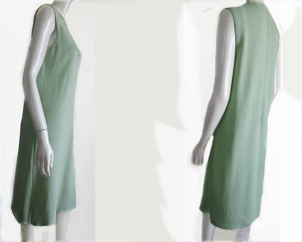 Annie Ann Sleeveless Knit Dress Mint V neck Sheath Sz 8 Wool Rayon Crystals