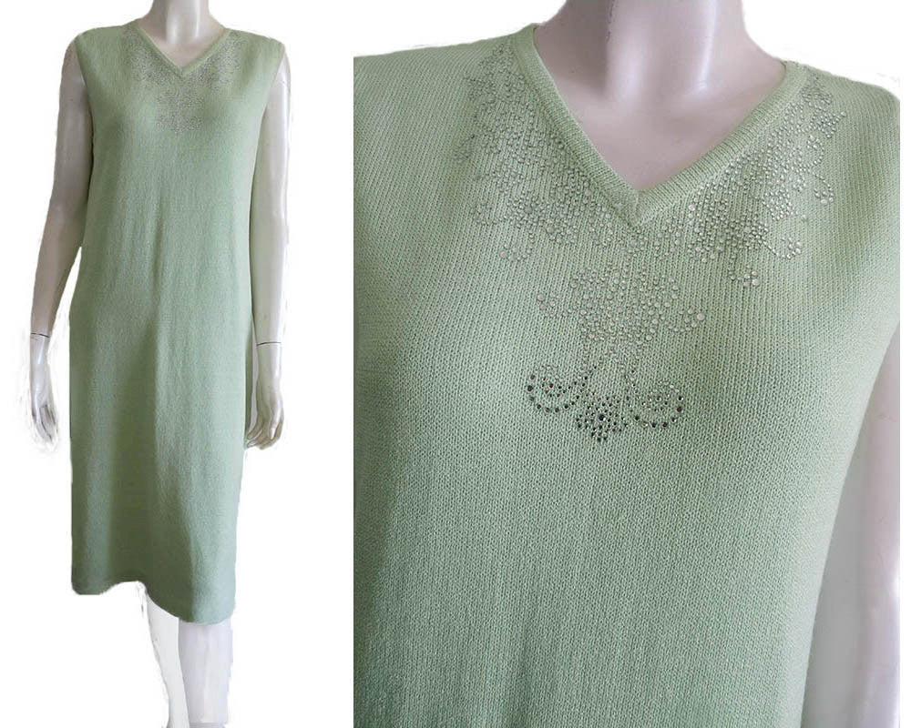 annie ann mint custom knit dress sz 8 sleeveless