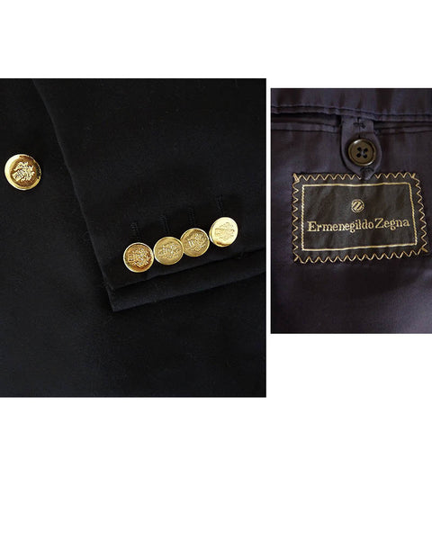 Ermenegildo Zegna Blazer Jacket 40 Black Peak lapels Gold tone metal buttons Shield