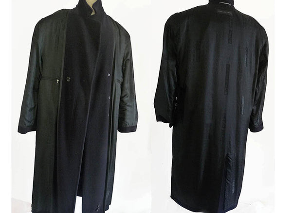 Black Coat mens Overcoat Wool Doris Hardwich 46 Vintage 1980s Outerwear DB