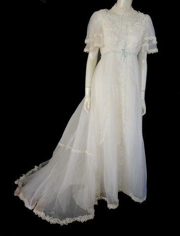 1970s wedding gown short sleeves