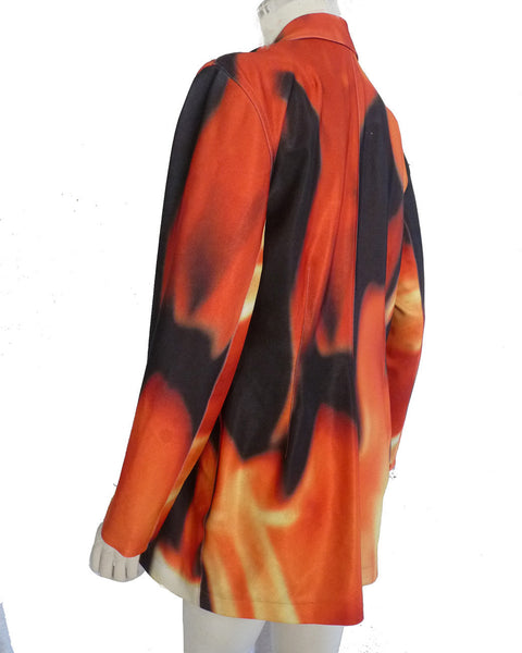 SOLD Todd Oldham Fire print Vintage jacket Punk Womens M Blaze Sz M Orange Black