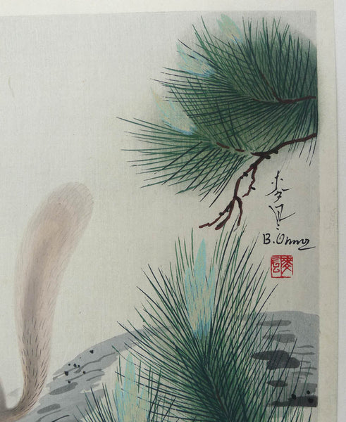 SOLD Bakufu Ohno Woodblock Squirrel in Pine Tree 1951 Kyoto-Hanga-in Signed