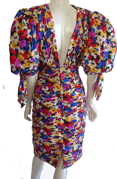 SOLD Capriccio Ruched Dress Bodycon Avant Garde Silk Wiggle Vintage 1980s huge sleeves