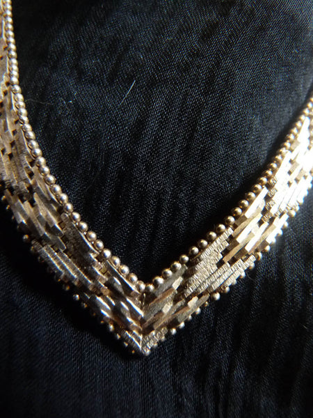 Sterling Silver 925 Chevron Herringbone Fancy Necklace 16 in  31.5 grams  Made Italy
