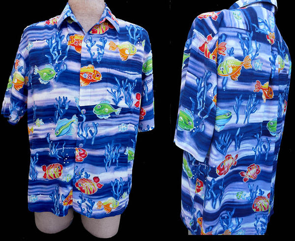 Jams World Shirt L Short Sleeves Fish theme Blue Green orange Rayon