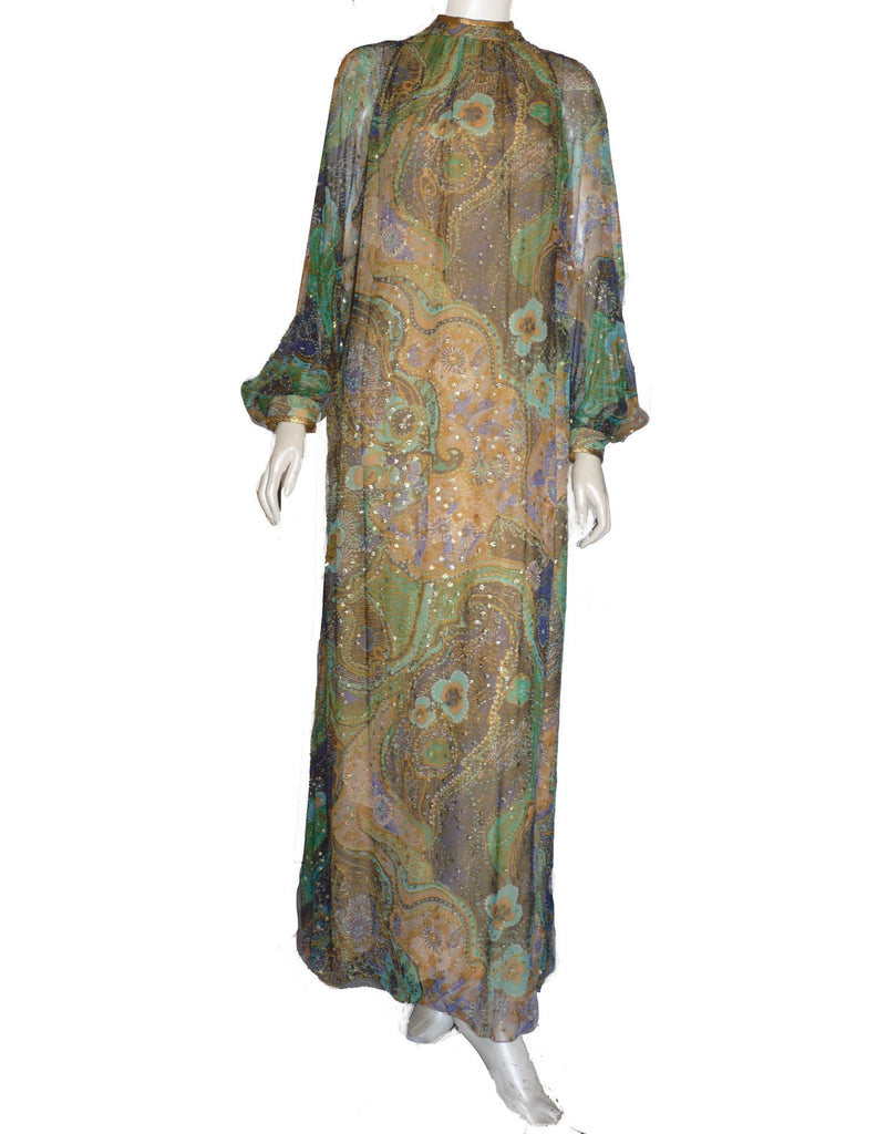 Jean Louis Gown 1960s Chiffon Lurex embellished Multi color LS High neck