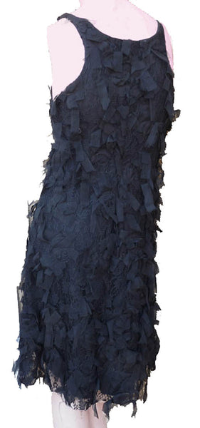 Karen Kane Black Sleeveless Dress Stretch S Tiered Layered Lace Ribbons