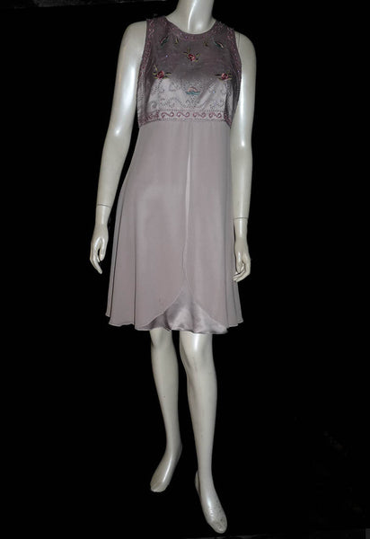 kay unger gray evening dress