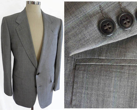 lanvin paris mens suit gray plaid siz 42