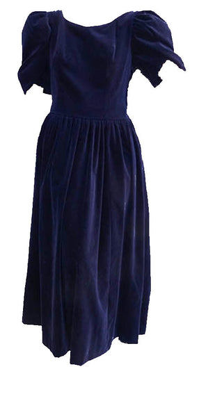 laura ashley midnight blue vintage dress