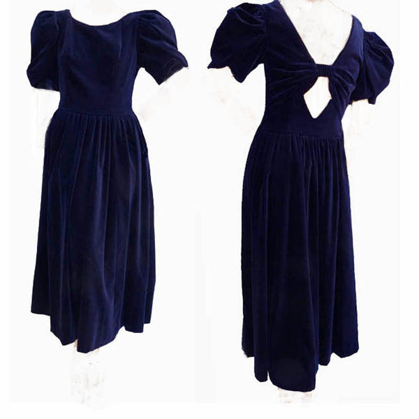 Laura Ashley Dress Vintage 1980s Puffedsleeve 10 Midnight blue Mid calf Cotton Velvet