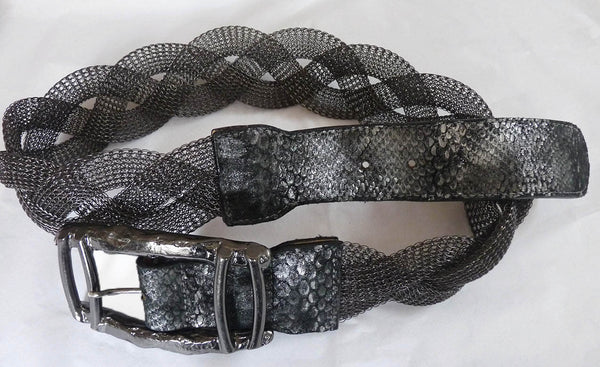 Leatherock Metal Woven Mesh Belt Charcoal black Hug  buckle  32 to 34 inches