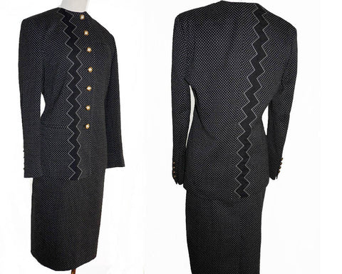 Louis Feraud Skirt Suit Black Zig zag Bolt white squares Logo buttons front  Wool Cotton