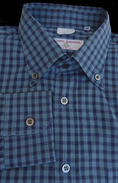 Luciana Barbera shirt Blue % black  Plaid 16 Long sleeves cotton
