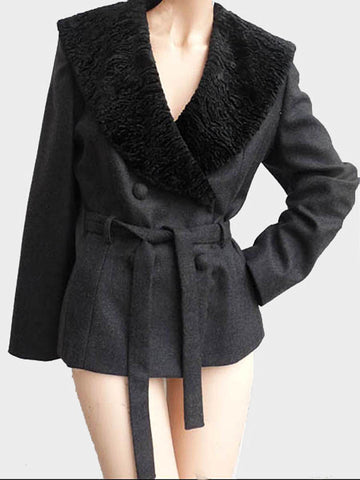 lydia lucci cray cropped jacket faux fur collar