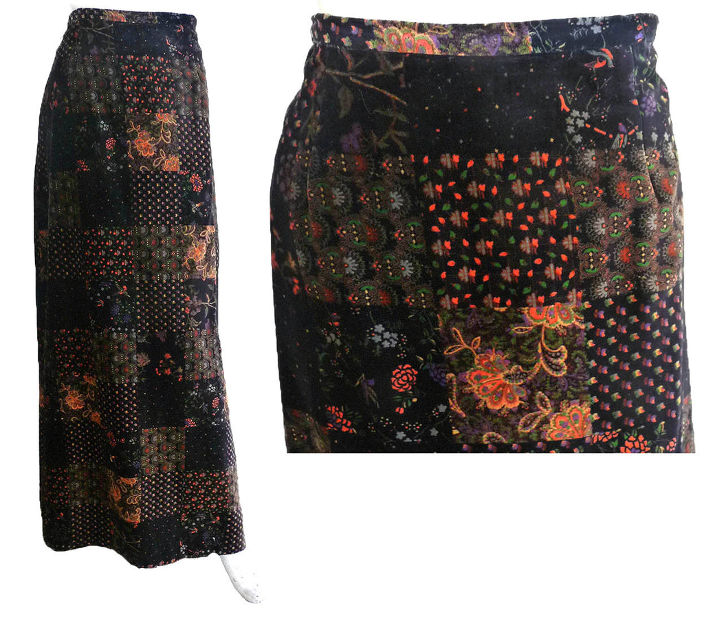 3d375fab44 Malbe Maxi skirt Vintage 1980s Hippie Boho Abstract Floral print ...