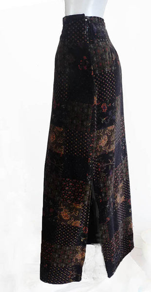 Malbe Maxi skirt Vintage 1980s Hippie Boho  Abstract Floral print Color block