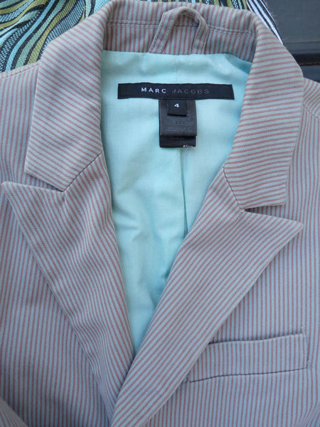 Marc Jacobs blazer jacket Sz 4 Cotton Majenta Pale blue striped