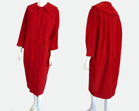 Marguerite Rubel 1950s Vintage Opera Coat Red Velvet Maxi M Large Collar Ca Design San Francisco