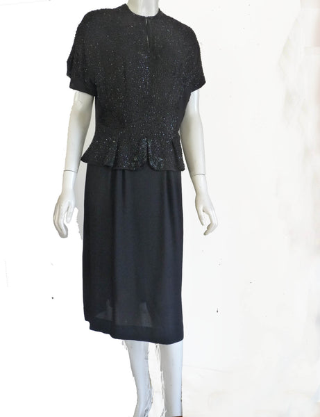 original marty cobin black beaded dress 1940s