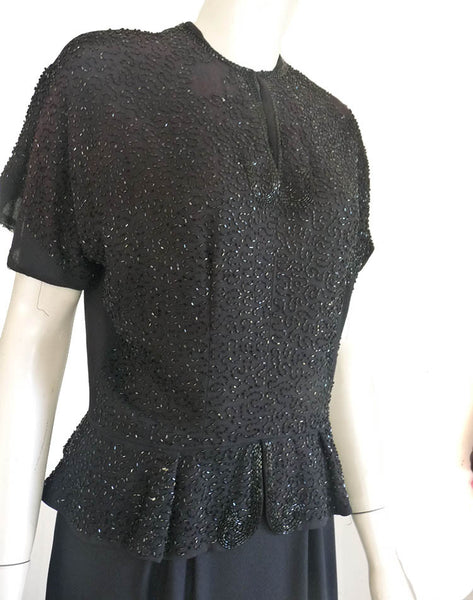 Vintage Dress 1930s original Marty Cobin  black beaded Sz L Peplum waist