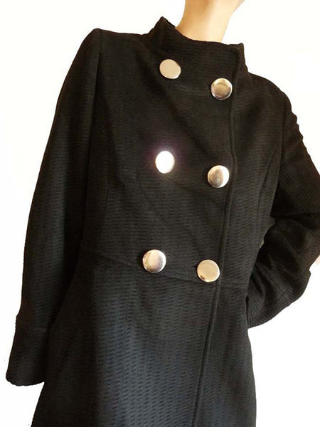 Max Mara Weekend Coat Black Cashmere High Collar Sz Lg Silver tone buttons