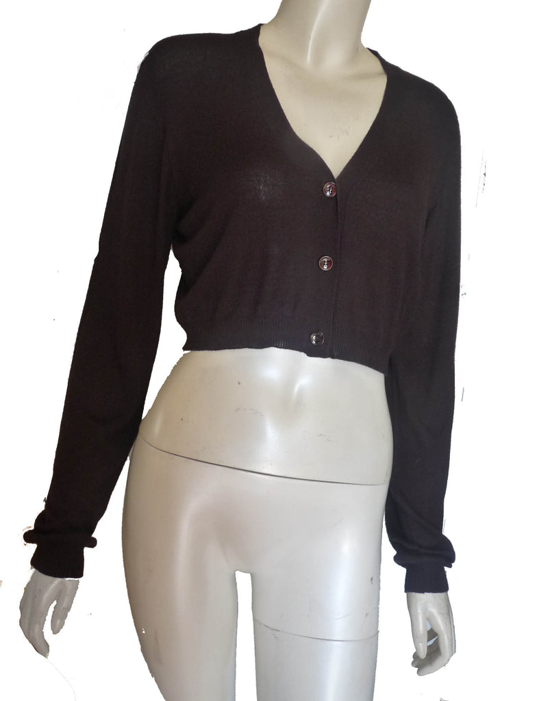 Max Mara Black long sleeve Cropped Sweater SZ L Cashmere blend Shrug Button