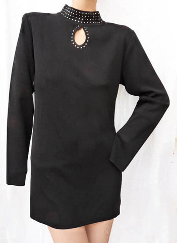 exclusively misook top Sz xs Black rhinestoneembellished