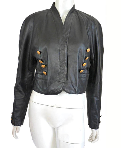 mondi black leather cropped jacket sz39
