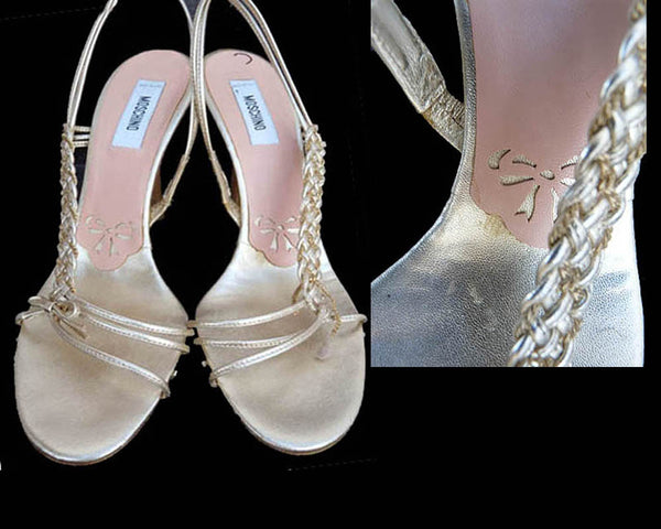 Moschino Heels Strappy Sandals Evening Gold Leather Sz 37.5  US 7 Vintage