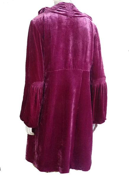 Nanette Lepore Coat Opera Jacket Ruched collar SZ 10 Rayon & silk Velvet Royal Raspberry