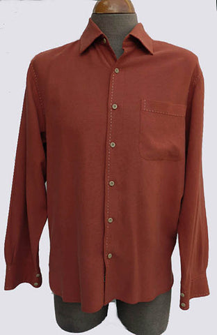 nat nast silk cotton LS button front mens shirt
